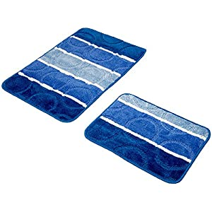 2 Teilig Badset Badgarnitur Badematten Badteppich Timor T13 Blue 01