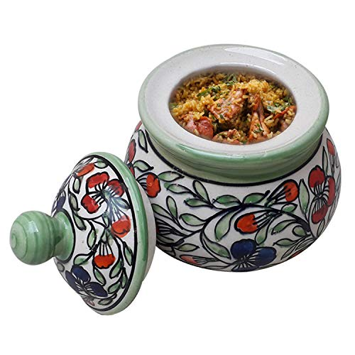 India Meets India Thanksgiving Handicraft Ceramic Serving Bowl with Lid Mixing Bowls Dinner Bowl Snack Bowl,300ml, Best Gifting, Made by Awarded Indian Artisan