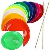 SchwabMarken 2 Jonglierteller Neon-Grün mit Holzstab - Jonglierteller mit Holz- Oder Kunststoffstab in Vielen Verschiedenen Mengen und Farben