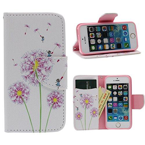 Portefeuille Bourse Rabat Coque Case de Protection pour iPhone 5 5S SE, Beau Fleur Imprimé Peinture Style - Pissenlit A3