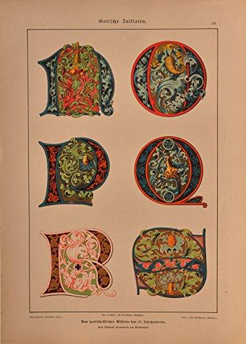 Schriftenatlas: Tafel 58 - Gotische Initialen 13. Jahrhundert, Teil 3 (farbige Lithographie mit...