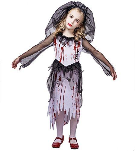 Kostüm Kinder Braut Bloody - Sea Hare Mädchen Blutige Geisterbraut Halloween Kostüm Outfits (L :10-12 Jahre)