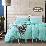 Bettbezug Set, Morbuy 2pcs Einfache Bettwäsche Set 135 x 200 cm 100% Polyester Mikrofaser Gemütlich Printing Bettbezug Set (Hellblau)