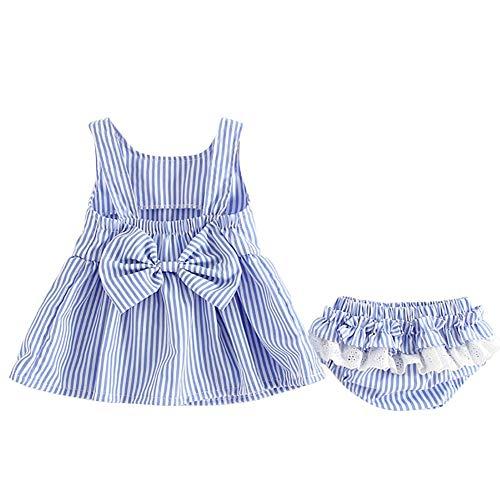 Shiningbaby Baby Mädchen Sommerkleid Set gestreift ärmelloses Bowknot Kleid und Höschen 2 Stück Outfit -