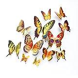 Trada Wandaufkleber, 12 Stück Aufkleber 3D Schwarz Weiß Schmetterling Aufkleber Kunst Wandtattoo Home Decoration Hausdekorationen Regenbogen Sticker für Schlafzimmer Wohnzimmer (Mehrfarbig)
