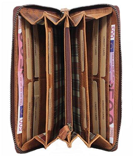 Geldbörse Leder Damen Herren große Reisebrieftasche Travel Organizer XL Portemonnaie Portmonee Wallet Mappe für Reiseunterlagen Vintage aus hochwertigem Echt-Leder Hill Burry braun 2080 (Wallet Damen-organizer)