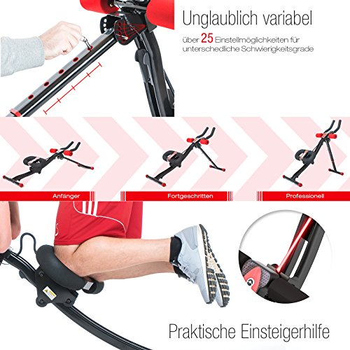 TESTSIEGER Sportstech BT300 Profi Bauchtrainer mit schwenkbarer Knieauflage für seitliche Bauchmuskeln, S-Form Schiene, 25 Einstellmöglichkeiten + Widerstandsbänder inkl. AB Shape Trainer für Sixpack - 6