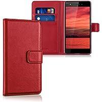 """kwmobile Funda para Wiko Pulp (5"""") - Wallet Case plegable de cuero sintético - Cover con tapa tarjetero y soporte en rojo oscuro"""