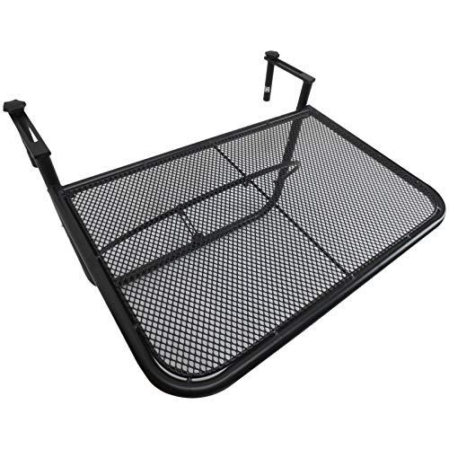 Outsunny tavolino da appendere alla ringhiera del balcone, regolabile in altezza per balcone in ferro, nero, 60 x 56.5 x 45 cm