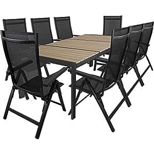 9tlg. Gartengarnitur Aluminium Gartentisch mit Polywood-Tischplatte 210x100cm + klappbare Hochlehner Positionsstuhl mit 4x4 Textilenbespannung und Polywood-Armlehnen Terrassenmöbel Sitzgarnitur Sitzgruppe Gartenmöbel
