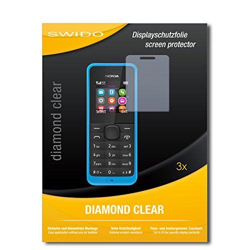 SWIDO 3 x Schutzfolie Nokia New 105 Bildschirmschutz Folie DiamondClear unsichtbar