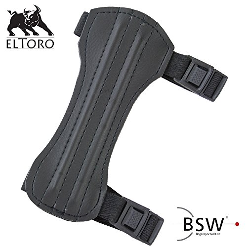 Black Leder Bogen (elToro Traditioneller Armschutz Kurz - Black Edition)
