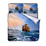 QIHANGYA Luxurious 3D reef Bed Set with Duvet Cover And Pillow Cases 3D Effect 3 Pieces Soft Microfiber 200x230cm
