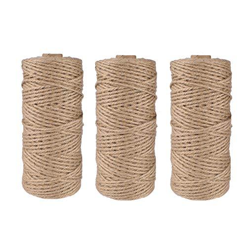 Gudotra 3 Rollos Cuerda de Yute Natural para Trabajos Creativos Artes Bricolaje Regalo Florística Decoración de Jardín (3pcs-Cuerda de Yute)