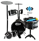 BSD Jazz Drum - Große Steinbach Kinderschlagzeug - Schlagzeug mit 6 Trommeln, Hocker und 2 Trommelstöcken - Schlagzeug Drumset - Kinder Trommel - Set Schlagzeug Drumset 10-TLG
