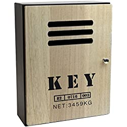 Boîte à clés 'Key' carcasse en métal avec porte en bois, serrure magnétique, 8 crochets, 23.5x30.5x10.5cm