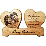 DOUBLE HEART -NMV Wooden Plaque,Engraved Wooden Photo Plaque,Laser Engraved Photo On Wood