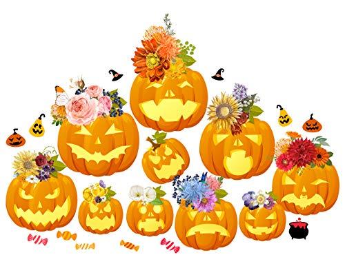 MozamyCreative Halloween Wand Aufkleber Halloween Décor schälen und Sticks Wandtattoo Blumen Halloween-Kürbisse -