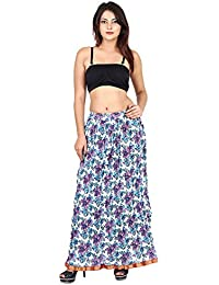 Gaurangi Women's Cotton Designer Purple Floral Printed Long Skirt
