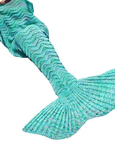 YiZYiF Meerjungfrau Decke, Handgemachte Gestrickt Schlafsack Strick Decke Mermaid Tail Blanket Kostüm für Baby Kinder Erwachsene (Für Damen, ()