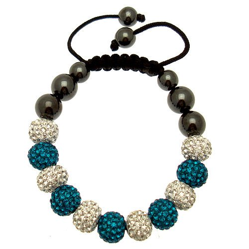 Acosta turchese &-braccialetto shamballa borchiato con cristalli swarovski, colore: blu ceramica bianco & 11 sfere in ematite, con chiusura magnetica, idea regalo, fashion jewellery