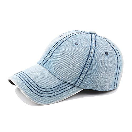 Blauer Strand Baseball Cap Retro Herbst Frühling Damen Herren Washed Denim Baseball Cap Herren Cap Outdoor Freizeit (Farbe : Light Blue, Größe : 56-60CM) -