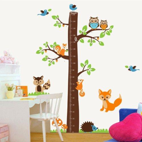 Colorfulworld® XXXL! Eule Fuchs Eichhörnchen & Vogel Baum Growthchart Meßlatte PVC Wandtattoo Wandaufkleber Wandsticker Kinderzimmer Geschenk 2pcs