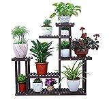 WODO Holz Blumenständer, Topfpflanze Pflanzen Kräuter Topf 5 Schichten Display Regalleiter Indoor und Outdoor Garten Balkon Holzregal 102L × 23W × 92H (cm), 40,1L × 9W × 36,2H (Zoll)