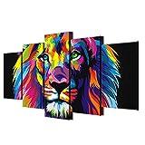 JONEKWYJ Canvas Poster Home Decor Wall Art Quadro 5 Pezzi Pitture Colorate Leone per Soggiorno HD Stampa Immagini Animali astratte (1# con Cornice,39 x 19 inch)