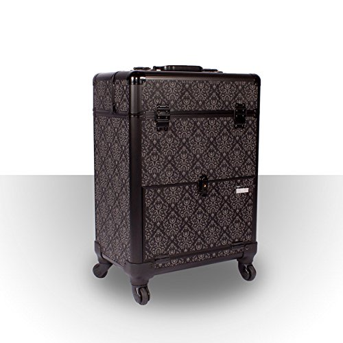 Roo Beauty Monsoon Beauty Trolley Hairdressing Case, Manicure And Nail Case In Imperial Black