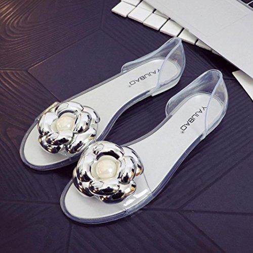 Frauen Gelee Sandalen , Kaiki Sommer Womens Fisch Mund Plastik flache Sandalen Casual Jelly Beach Schuhe Silver