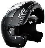 #2: Enem Ninja Pastel Plain Flip Up Face Motorcycle, scooter Bluetooth Helmet (Black, XL)