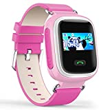 Witmoving Kinder Smart Uhr Watch GPS-Verfolger Armbanduhr SOS Armband mit SIM-Karten Slot für IOS Android Smartphones (Rosa)