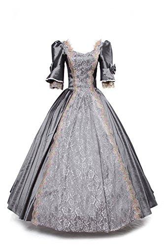 Frauen Halloween Berühmte Kostüme (Damen Satin Viktorianisches Kleid Mittelalter Renaissance Maxi Halloween Kostüm (one size(Brustumfang 90cm, Taillenumfang 72cm),)