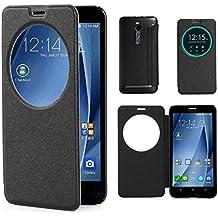 "Leathlux Para Asus Zenfone 2 , Simple Lujo [View Window] Premium PU Cuero Style Protective Flip Shell Carcasa Funda Cover Slim Adecuado Para Asus Zenfone 2 ZE551ML / ZE550ML /Asus Zenfone 2 Deluxe ZE551ML 5.5"" [Negro]"