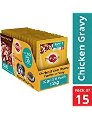 Pedigree Adult Wet Dog Food, Chicken & Liver Chunks in Gravy – 80 g (1.2 kg, 15 Pouches)