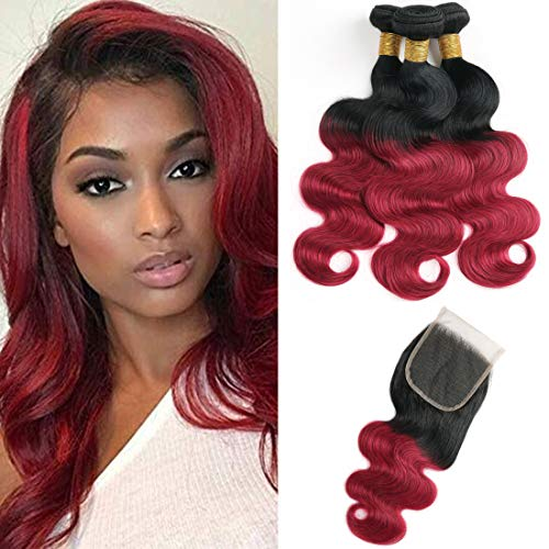 ombre Body Wave Human Hair Bundles con chiusura 1B/bordeaux Brazilian Virgin Body Wave con chiusura Lace free Part (14 16 18+14 inches)