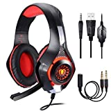Casque Gaming PS4 PC Xbox One Switch, Samoleus Casque Gamer avec Micro Anti Bruit LED Lampe 3.5mm Audio pour Xbox One, PS4, PC, Laptop, Tablette, Smartphone, Playstation 4 (Red)