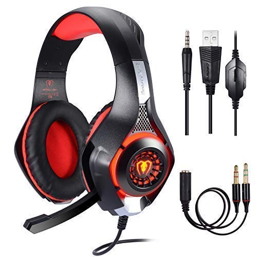 Cuffie Gaming per PS4 PC, Stereo Gaming Headset,Cuffie da Gioco, Samoleus 3.5mm Jack Cuffie Gamer con Microfono, Luci LED, Noise Cancelling, Deep Bass Stereo, Audio Surround, Cancellazione di Rumore