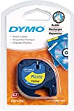 Dymo LetraTag Plastic Label Tape, 12 mm x 4 m Roll - Yellow