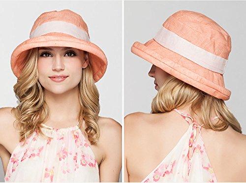 Plage d'été respirant Hat / Chapeau de soleil UV / Peut être plié Orange