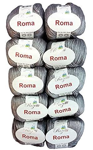 10x 50g Gris Coton métallique 201–11, 500grammes de laine à