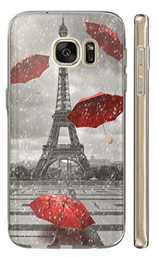 Apple iPhone 5 / 5s / SE Hülle Softcase TPU Hülle für iPhone 5 / 5s / SE Cover Backkover Schutzhülle Slim Case (1107 Eifelturm Paris Frankreich Rot Grau)