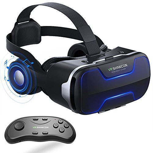 94af69d9eaf9 13% VR Headset with Remote Controller Stereo Headphones for iPhone and  Android Virtual Reality Glasses Goggles Provide