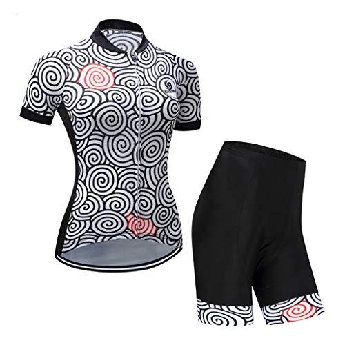 HAOHOAWU Frauen Radfahren Jersey, 3D Bike Jersey Fahrrad Gel Gepolsterte Lätzchen Atmungsaktiv Sommer Quick-Dry Zipper Radfahren Kleidungssatz,Black,XXXL -