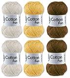 Gründl Cotton Fun Häkelgarn Schulgarn 100% Baumwolle SET 11 Braun Mix 6 Stück 300 Gramm