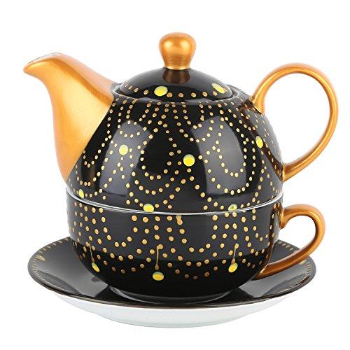 Artvigor, Porzellan Teekanne, Bunt Teeservice, Tea for one Set, Geschenk für Weihnachten und Geburtstag