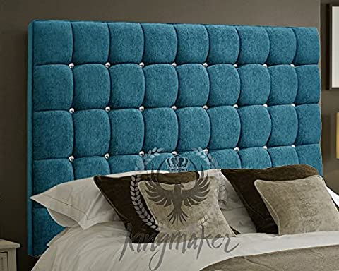 TrendMakers Modern Luxury 5FT Kingsize Tufted Cube Chenille Deep Crystal Diamantes Headboards Padded Classic Home Bedroom - Aqua/Teal - Height 36