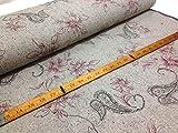 Paisley-Blumen-Stickerei aus Wolle und Tweed, Grau