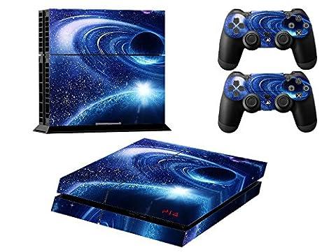 Skin Sticker/Aufkleber Folie Nachthimmel Stern schützende Haut Schale für Sony PS4 Konsole und 2 Controller (blue comet)
